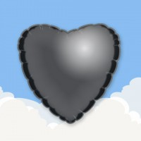 "Black 18"" Heart Printed Foil Balloons"