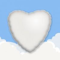 "White 18"" Heart Printed Foil Balloons"