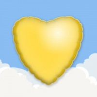 "Yellow 18"" Heart Printed Foil Balloons"