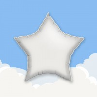 "White 18"" Star Printed Foil Balloons"