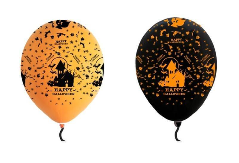 Halloween printed balloons in orange and black